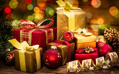 New Year, 4k, xmas, gifts, Christmas, christmas decorations, Happy New Year
