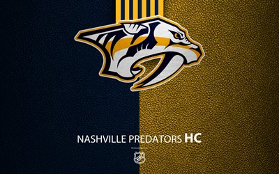 Nashville Predators, HC, 4K, hockey team, NHL, leather texture, logo, emblem, National Hockey League, Nashville, Tennessee, USA, hockey, Western Conference, Central Division