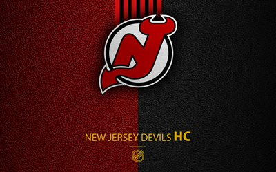 New Jersey Devils, HC, 4K, hockey team, NHL, leather texture, logo, emblem, National Hockey League, Newark, New Jersey, USA, hockey, Eastern Conference, Metropolitan Division