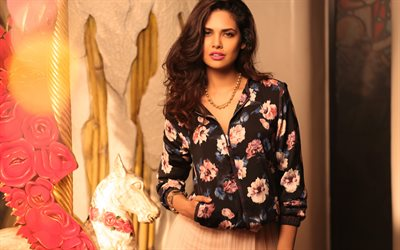 Esha Gupta, 4k, Bollywood, beauty, beautiful woman, brunette