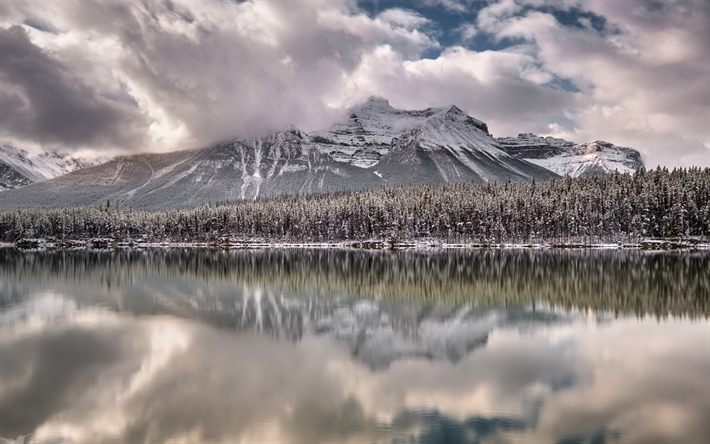 winter, mountain lake, snow, forest, Alberta, Canada