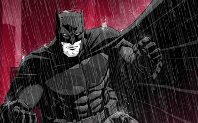 Batman, rain, fan art, superheroes, creative, Bat-man
