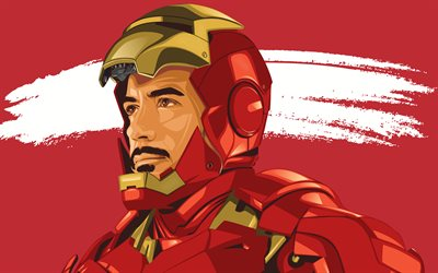 4k, Iron Man, artwork, red background, superheroes, DC Comics, IronMan