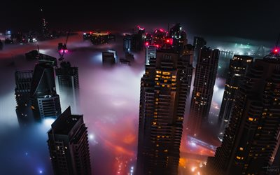 Dubai, fog, cityscapes, nightscapes, skyscrapers, United Arab Emirates, UAE