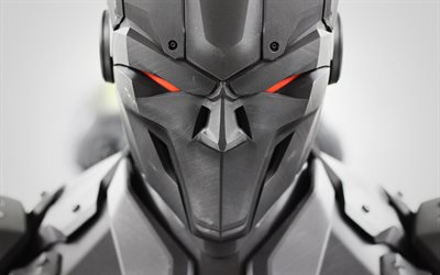 4k, robot, 3D art, close-up, red eyes, robotics, robot head