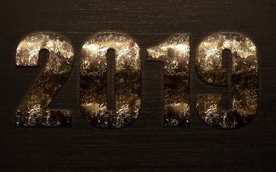 2019 year, rusty numbers, art, 2019 concepts, rusty digits, metallic brown digits, metallic texture, New Year