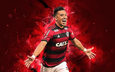 Fernando Uribe, goal, forward, Flamengo FC, Colombian footballers, soccer, Uribe, Brazilian Serie A, abstract art, neon lights, Brazil