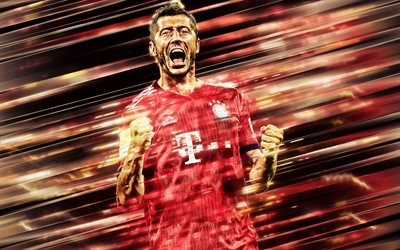 Robert Lewandowski, Bayern Munich, Polish football player, striker, portrait, Polish football stars, Bundesliga, Germany, art