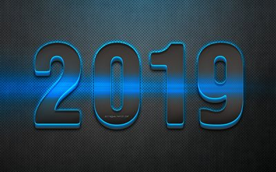 2019 year, 3D digits, metal background, blue neon, 2019 concepts, Happy New Year 2019, creative