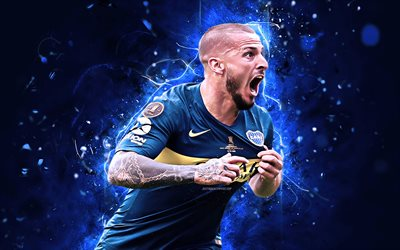 Dario Benedetto, goal, Argentinean Superliga, Boca Juniors FC, forward, soccer, AAAJ, Benedetto, neon lights, argentine footballers, abstract art