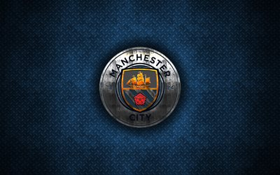 Manchester City FC, 4k, metal logo, creative art, English football club, Premier League, emblem, blue metal background, Manchester, England, football