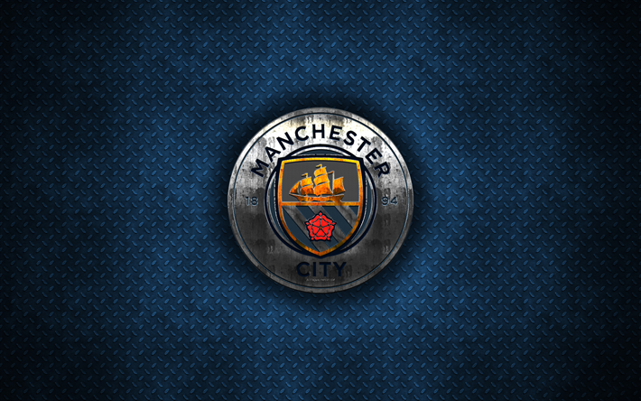 Download wallpapers Manchester City FC, 4k, metal logo ...