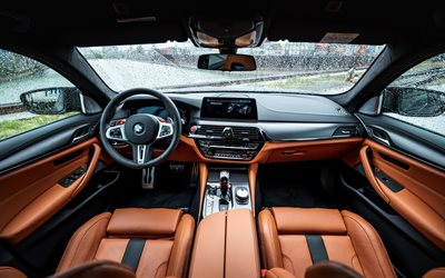 2019, BMW M5, interior, new M5, inside view, tuning M5, brown leather interior, M5 Manhart, F90, German cars, BMW