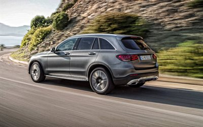 2020, Mercedes-Benz GLC, side view, exterior, gray crossover, new silver GLC, German cars, Mercedes