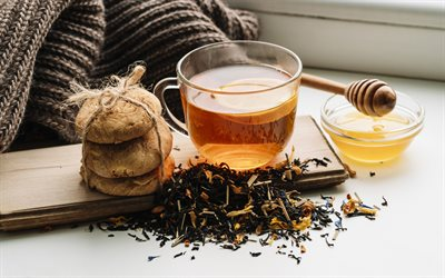 tea with honey, black tea leaves, tea concepts, tea cup, honey, cookies