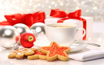 cup of tea, Christmas, New Year, Christmas cookies, white cup, tea