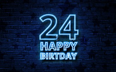 Happy 24 Years Birthday, 4k, blue neon text, 24th Birthday Party, violet brickwall, Happy 24th birthday, Birthday concept, Birthday Party, 24th Birthday