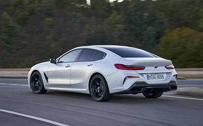 BMW 8 Series Gran Coupe, G16, 2020, 840i, rear view, exterior, white 8er, four-door coupe, new white 8-Series, German cars, BMW