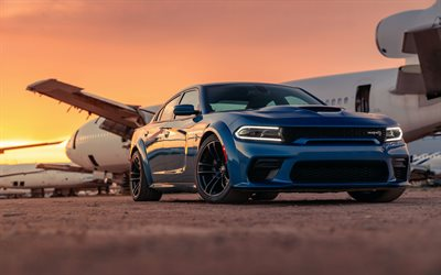 Dodge Charger SRT Hellcat, 2020, front view, exterior, blue sedan, tuning Charger, american cars, Dodge