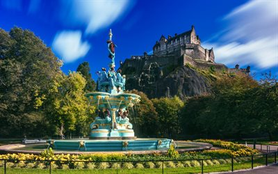 Edinburgh Castle, Ross Fountain, West Princes Street Gardens, Edinburgh, beautiful fountain, ancient castle, United Kingdom