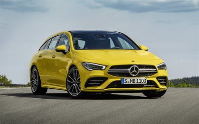 2020, Mercedes-AMG CLA 35, Shooting Brake, yellow station wagon, exterior, front view, new yellow CLA35, German cars, Mercedes