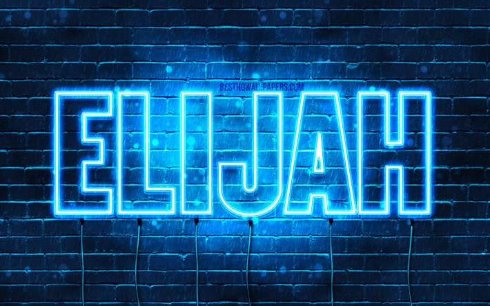 Elijah, 4k, wallpapers with names, female names, Elijah name, purple neon lights, horizontal text, picture with Elijah name