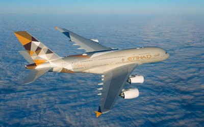 Airbus A380-800, passenger plane, Etihad Airways, A380, air travel concepts, Airbus