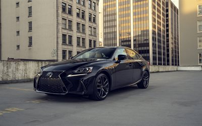 Lexus IS, 2019, exterior, front view, black sedan, new black IS, japanese cars, Lexus