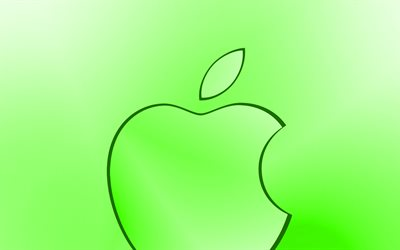 Apple green logo, creative, green blurred background, minimal, Apple logo, artwork, Apple