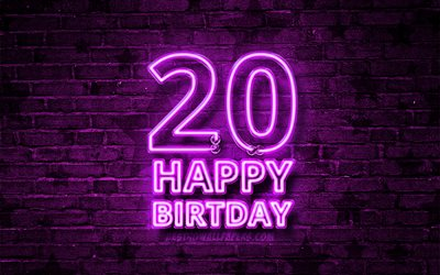 Happy 20 Years Birthday, 4k, violet neon text, 20th Birthday Party, blue brickwall, Happy 20th birthday, Birthday concept, Birthday Party, 20th Birthday