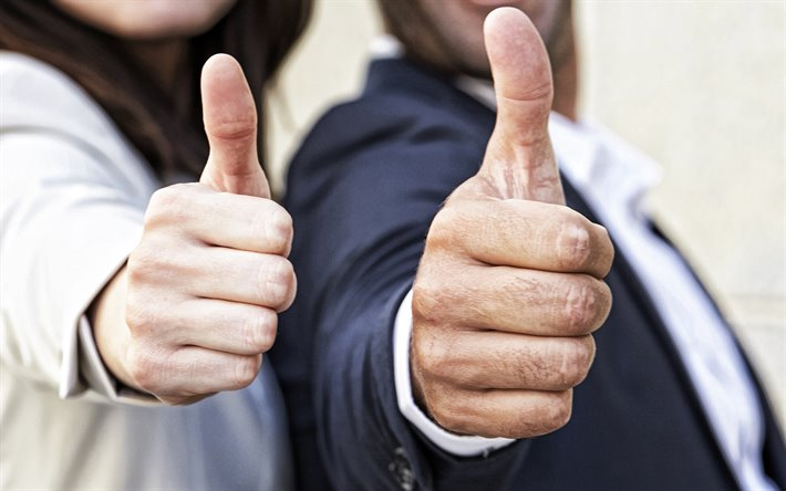 Thumbs up, hands of business people, success concepts, business concepts, Thumbs up concepts