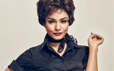 Vanessa Hudgens, portrait, photo shoot, american actress, makeup, black dress, american stars, Vanessa Anne Hudgens