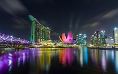 Singapore, Marina Bay Sands, night, skyscrapers, modern buildings, casino, Marina Bay, Republic of Singapore, Asia