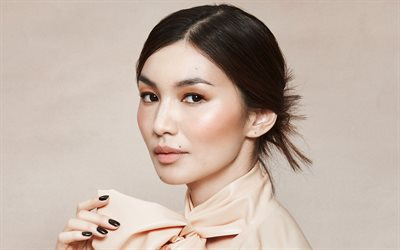 Gemma Chan, portrait, english actress, photoshoot, beige dress, popular actress