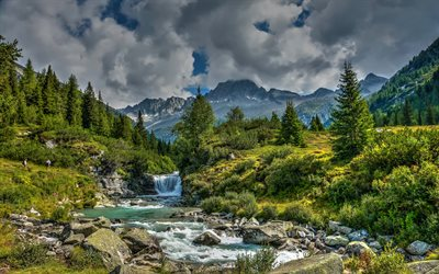 Trentino, Alps, mountain river, mountain landscape, forest, green trees, Italy