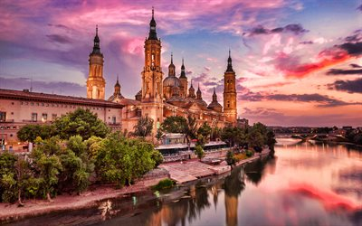 Cathedral-Basilica of Our Lady of the Pillar, sunset, basilica, Zaragoza, Aragon, Ebro, Spain, Europe, spanish landmarks