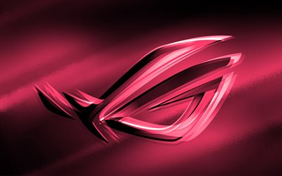 4k, RoG pink logo, pink blurred background, Republic of Gamers, RoG 3D logo, ASUS, creative, RoG