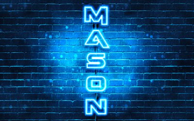 4K, Mason, vertical text, Mason name, wallpapers with names, blue neon lights, picture with Mason name