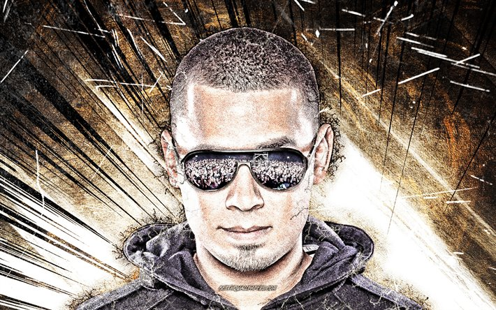 Afrojack, brown abstract rays, music stars, Dutch DJs, Nick van de Wall, grunge art, superstars