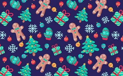 Christmas texture, New Year background, texture with christmas cookies, christmas trees texture, retro christmas texture
