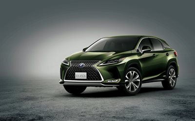 Lexus RX, 2019, front view, green crossover, new green RX, japanese cars, RX 450h, Lexus