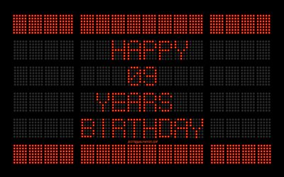9th Happy Birthday, digital scoreboard, Happy 9 Years Birthday, digital art, 9 Years Birthday, red scoreboard light bulbs, Happy 9th Birthday, Birthday scoreboard background