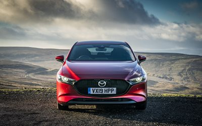4k, Mazda3 Hatchback, front view, Skyactiv-G, 2019 cars, red mazda 3, 2019 Mazda 3 Hatchback, japanese cars, Mazda