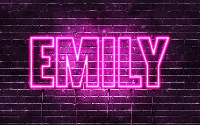 Emily, 4k, wallpapers with names, female names, Emily name, purple neon lights, horizontal text, picture with Emily name