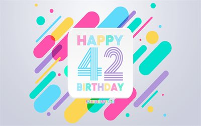 Happy 42nd Years Birthday, Abstract Birthday Background, Happy 42nd Birthday, Colorful Abstraction, 42nd Happy Birthday, Birthday lines background, 42 Years Birthday, 42 Years Birthday party