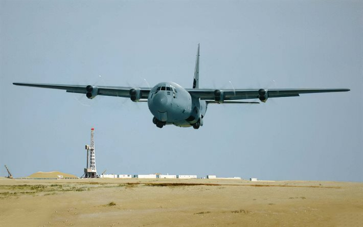 Lockheed AC-130, american military aircraft, aircraft take off, United States Air Force, American aircraft, Lockheed AC-130 Spectre