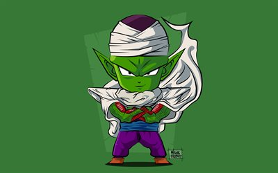4k, Piccolo, minimalism, Dragon Ball, warrior, Dragon Ball Super, DBS, green backgrounds, Piccolo DBS, DBS characters
