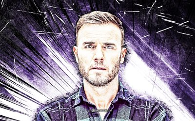 4k, Gary Barlow, grunge art, english singer, music stars, Gary Barlow OBE, violet abstract rays, english celebrity, Gary Barlow 4K