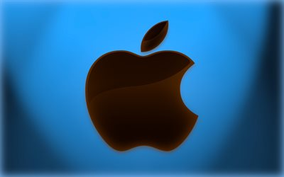 Logo Apple, fond bleu, logo verre marron, Apple, fond Apple bleu