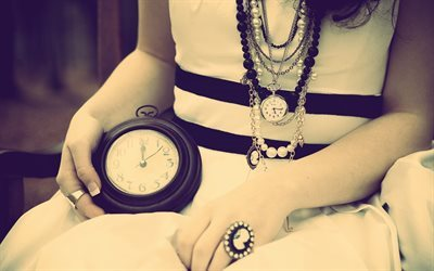 time, clock, girl with clock, old clock